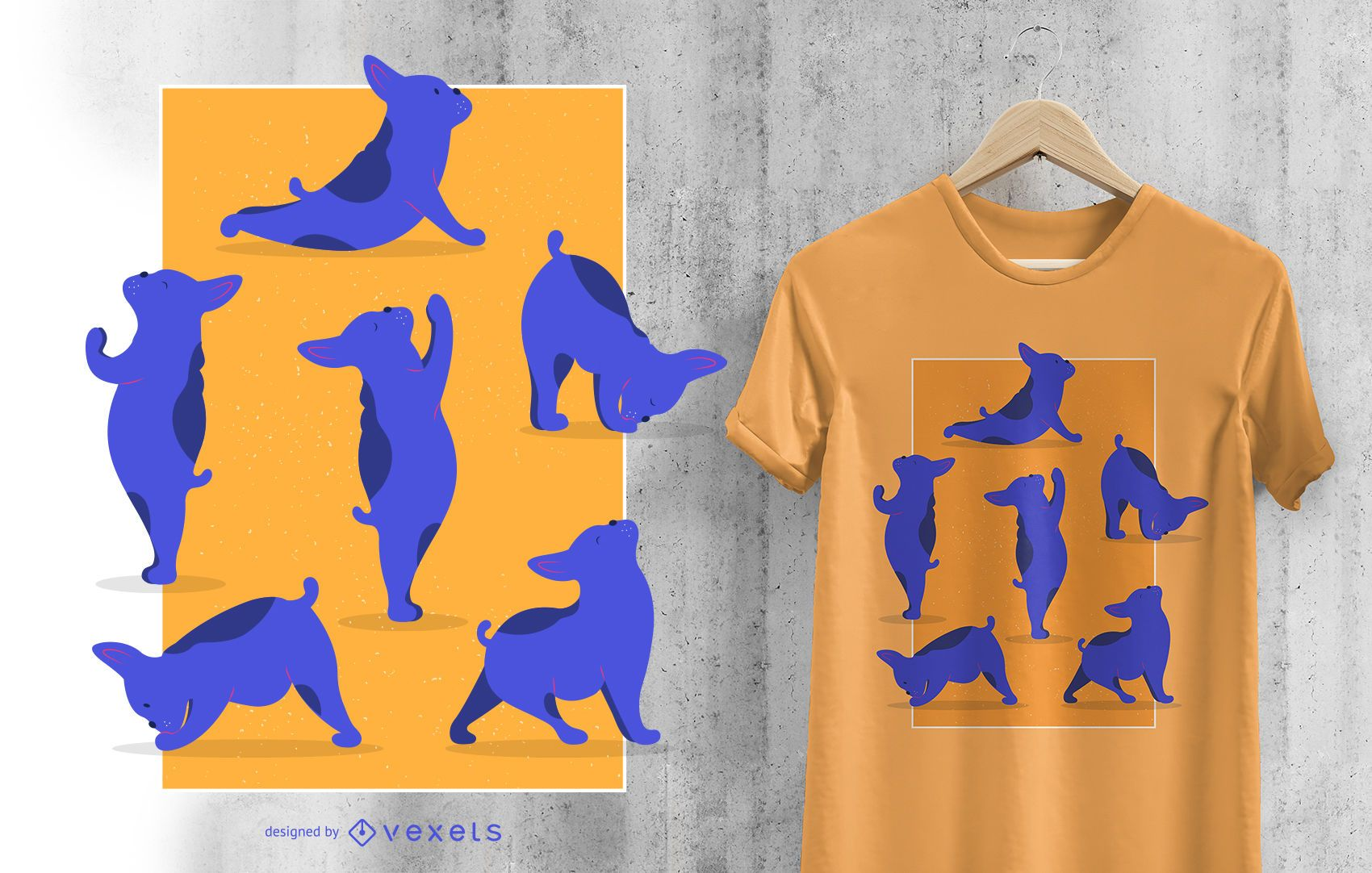 French Bulldog Yoga Asanas Funny Dog T-shirt Design