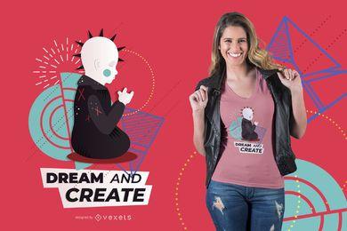Diseño lindo de la camiseta de Buda punk