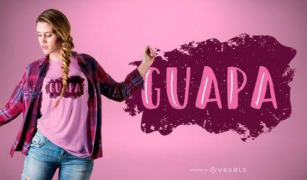 Projeto do t-shirt da palavra das citações de Guapa