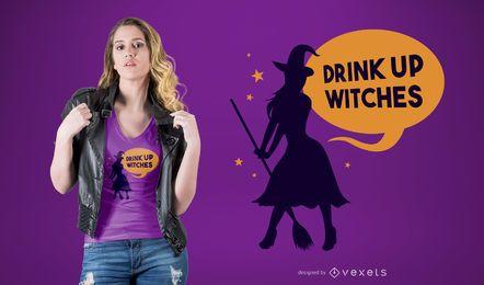 Drink Up Witches Design de t-shirt com citações engraçadas de bebidas do Dia das Bruxas