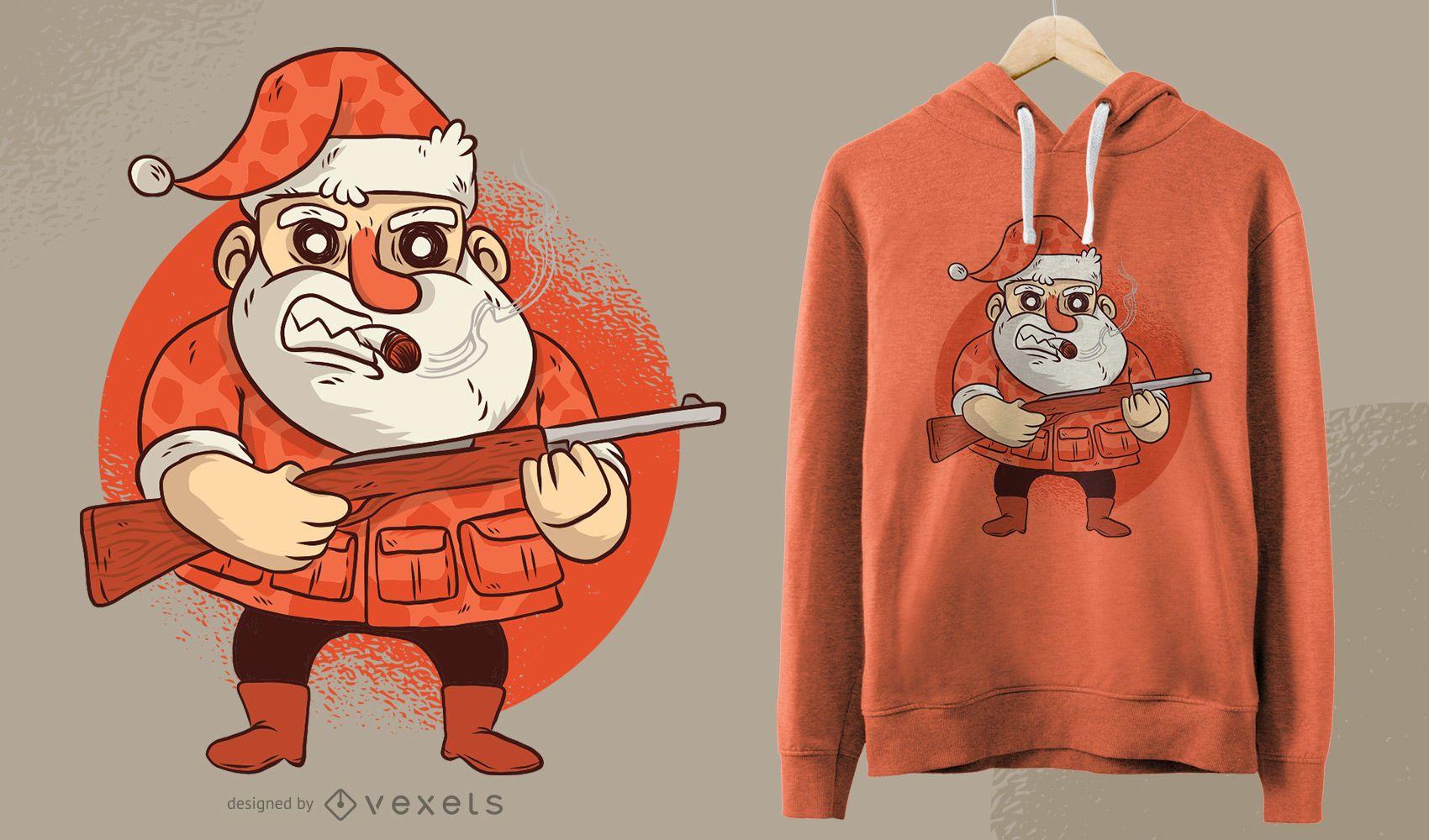 Hunting Santa Funny Christmas Cartoon T-shirt Design