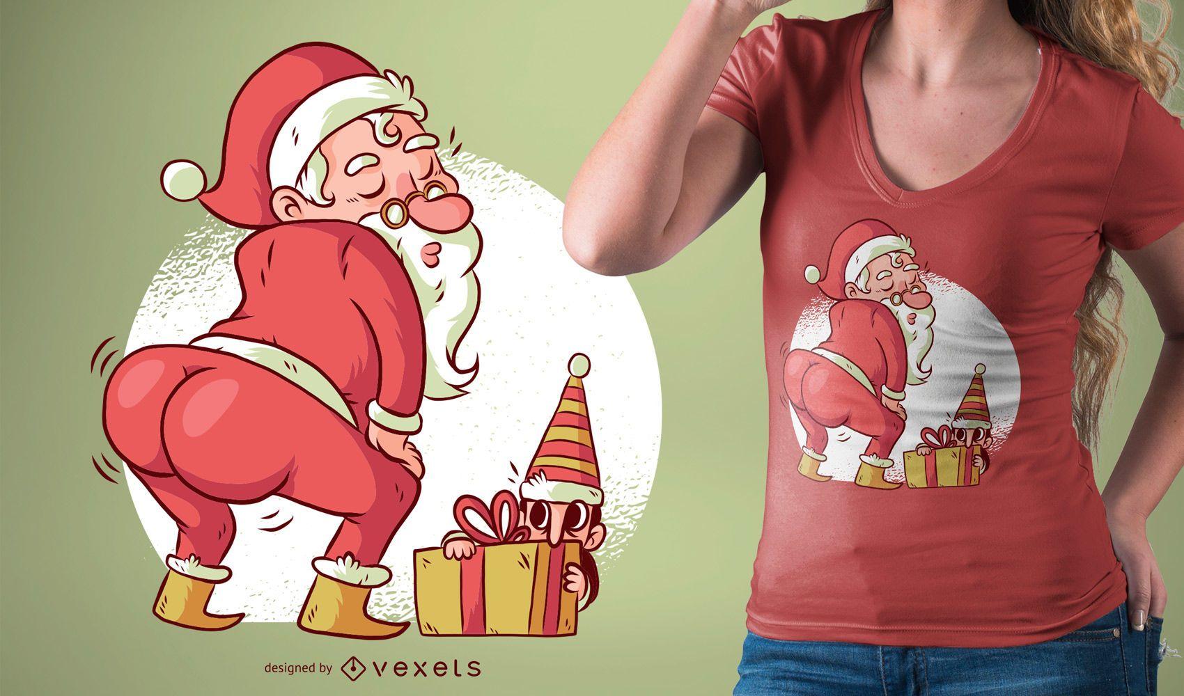 Projeto engraçado de t-shirt dos desenhos animados de dança de Natal do Papai Noel