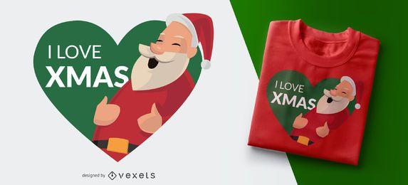 Amo diseño de la camiseta del corazón de la Navidad de Navidad Santa