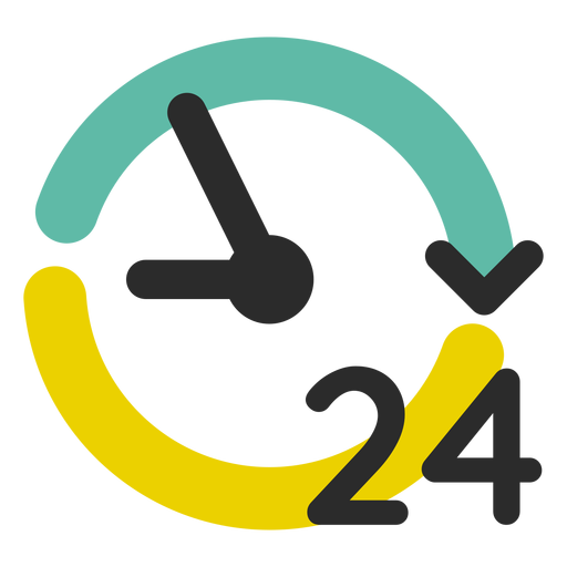 24 hour service colored stroke Transparent PNG