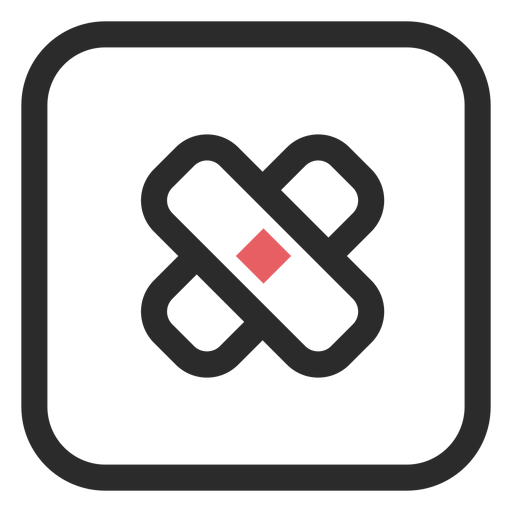 Ícone de traço colorido de bandagem adesiva Transparent PNG