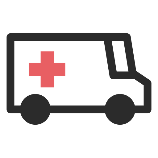 Ícone de traço colorido de ambulância Transparent PNG