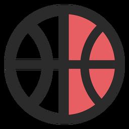 Ícone de traço colorido de bola de basquete