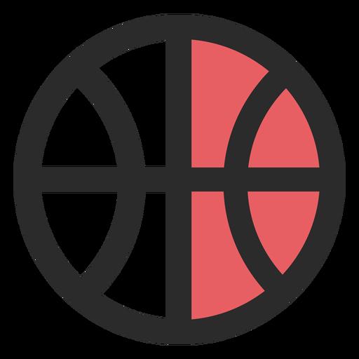 Ícone de traço colorido de bola de basquete Transparent PNG