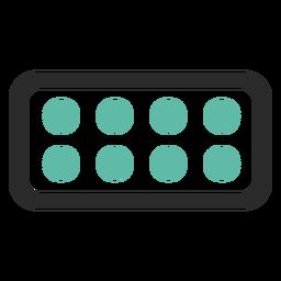 Ícone de traço colorido do blister pack