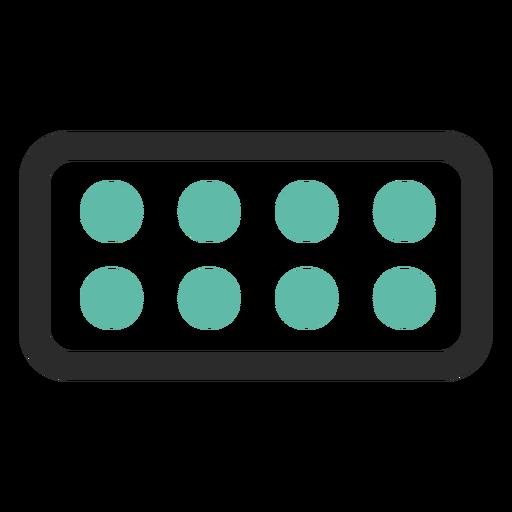 Ícone de traço colorido do blister pack Transparent PNG