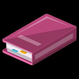 Libro con el icono de marcadores pegajosos