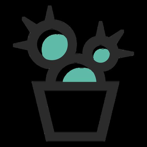 Ícone de traço colorido de pote de cacto Transparent PNG