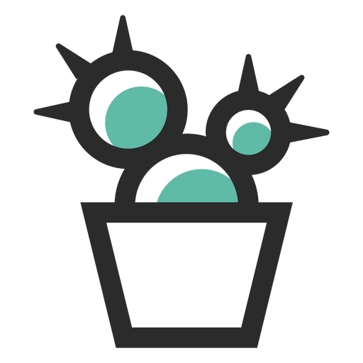 Cactus pot colored stroke icon Transparent PNG