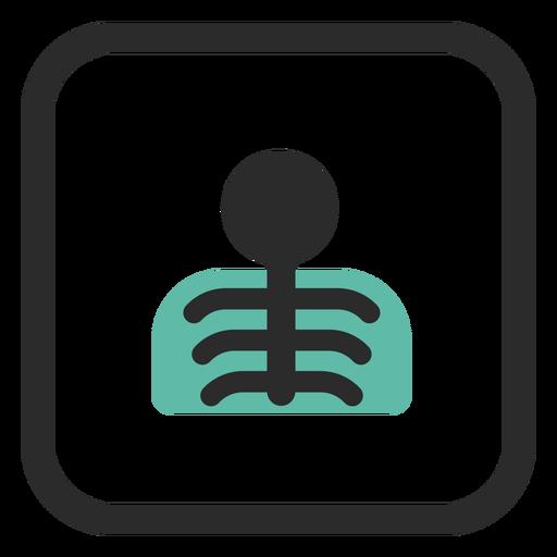 Icono de trazo de color de rayos x de tórax