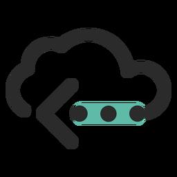 Ícone de traço colorido de transferência de nuvem