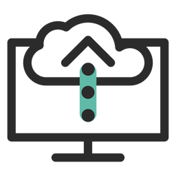 Cloud-Upload farbige Strich-Symbol