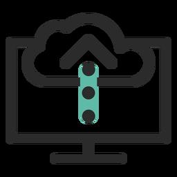 Icono de trazo coloreado de carga en la nube