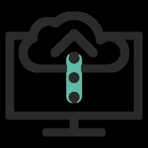 Icono de trazo coloreado de carga en la nube Transparent PNG