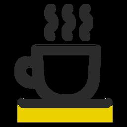 Taza de café coloreada icono de trazo