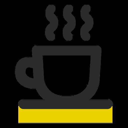 Taza de café coloreada icono de trazo Transparent PNG
