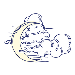 Crescent moon and clouds cartoon