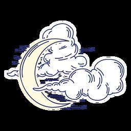 Desenhos animados crescentes da lua e das nuvens