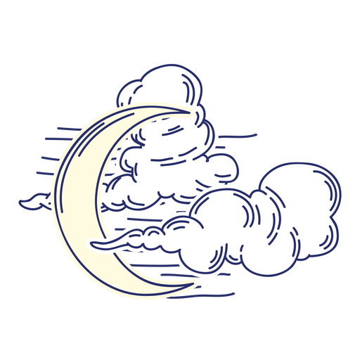 Crescent moon and clouds cartoon Transparent PNG