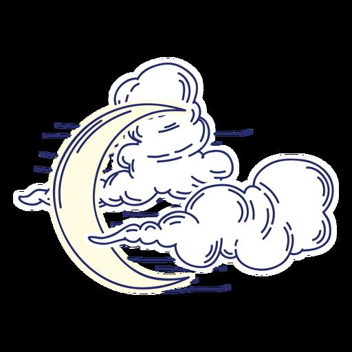 Desenhos animados crescentes da lua e das nuvens Transparent PNG