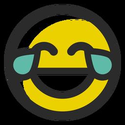 Llanto de emoticon de trazo de color riendo