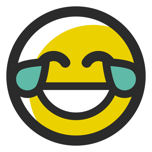 Crying laughing colored stroke emoticon - Transparent PNG ...