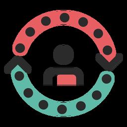 Kundenzyklus farbiges Strich-Symbol