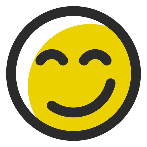 Delighted colored stroke emoticon Transparent PNG