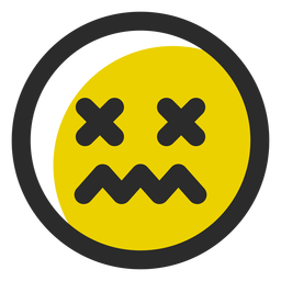 Schwindlig gefärbter Strich-Emoticon