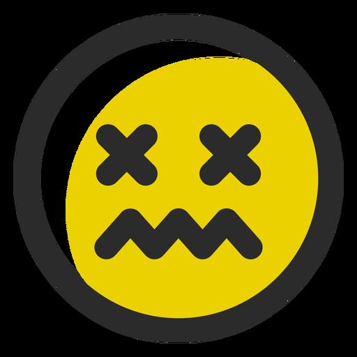Schwindlig gefärbter Strich-Emoticon Transparent PNG
