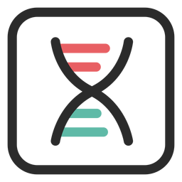 Ícone de traço colorido de cadeia de DNA