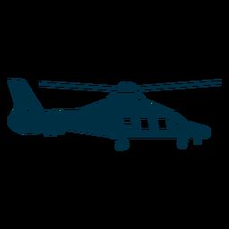 Silueta de helicóptero con delfines.