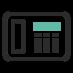 Ícone de traço colorido de telefone de fax