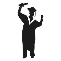 Female graduate cheering silhouette