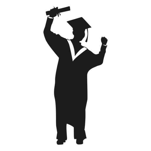 Female graduate cheering silhouette Transparent PNG