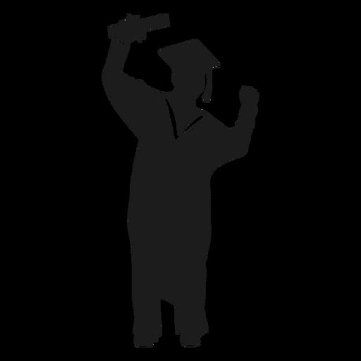 Graduado femenino animando silueta