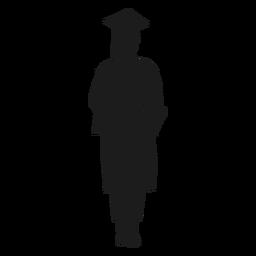 Mujer graduada sosteniendo diploma silueta