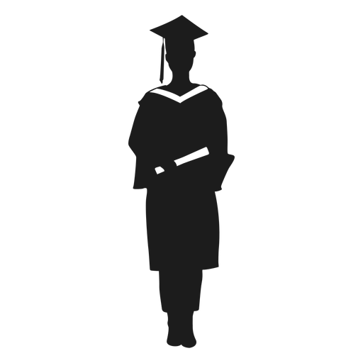 Female graduate holding diploma silhouette Transparent PNG