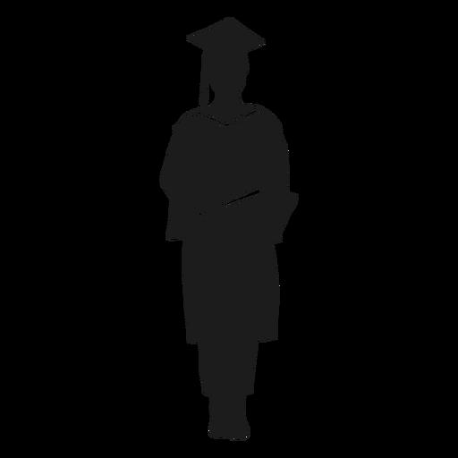 Female graduate holding diploma silhouette - Transparent ...