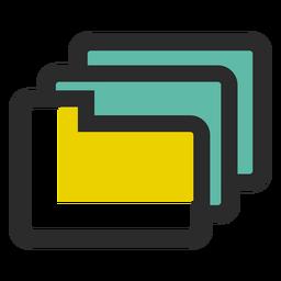 Icono de trazo de color de carpetas