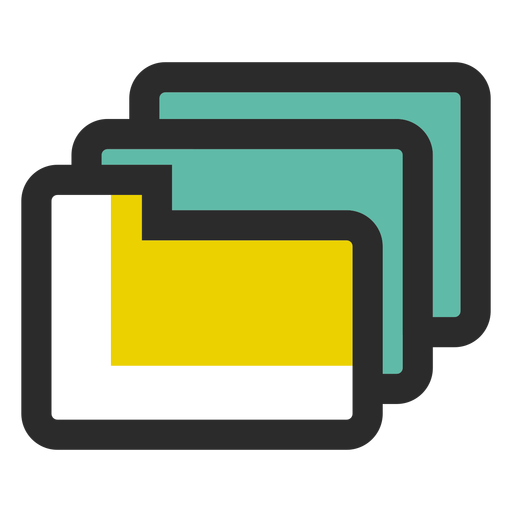 Ícone de traço colorido de pastas Transparent PNG