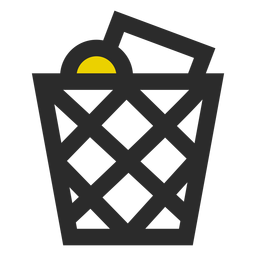 Full wastebasket colored stroke icon