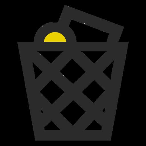 Full wastebasket colored stroke icon