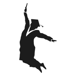 Graduate jumping silhouette