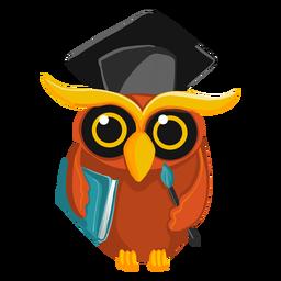 Graduate owl holding book