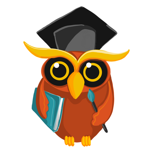 Graduate owl holding book Transparent PNG